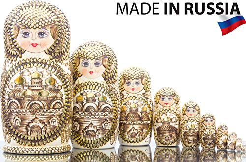 Russian Nesting Doll - Golden Domes of Russia - Hand Painted in Russia - Traditional Matryoshka Babushka (10.25`` (10 Dolls in 1)) ()