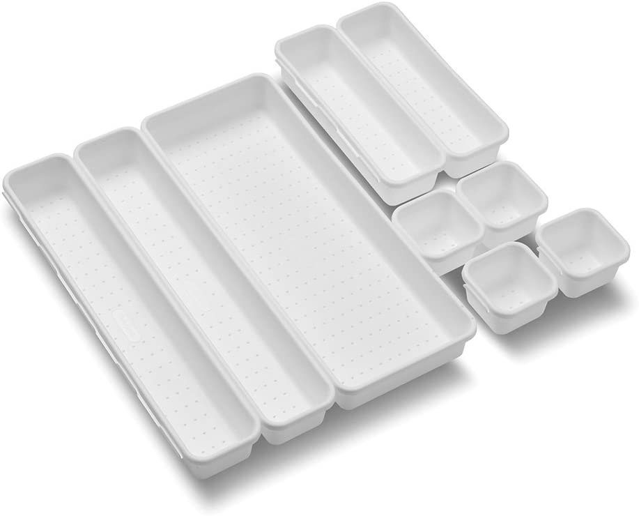 madesmart Value 9-Piece Interlocking Bin Pack - White | VALUE COLLECTION| Customizable Multi-Purpose Storage | Durable | Easy to Clean | BPA-Free