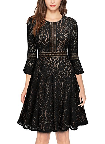 - MISSMAY Women's Vintage Full Lace Contrast Bell Sleeve Big Swing A-Line Dress (X-Large, D-Black)