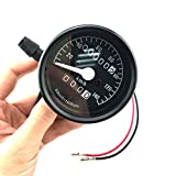 Iztoss Motorcycle Universal Dual Odometer Night Light Speedometer Gauge black display KPH