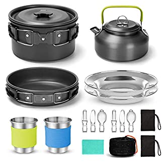 Odoland 16pcs Camping Cookware Kit with Folding Camping Stove Suit 2 People, Non-Stick Pot Pan Kettle Set with Stainless… 1