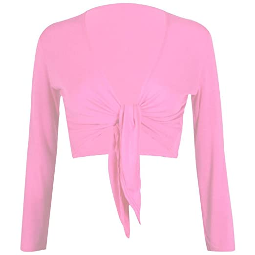 9114e9071ad6a Womens Plain Bolero Front Tie Shrug Cropped Long Sleeve Stretch Cardigan  Top Baby Pink
