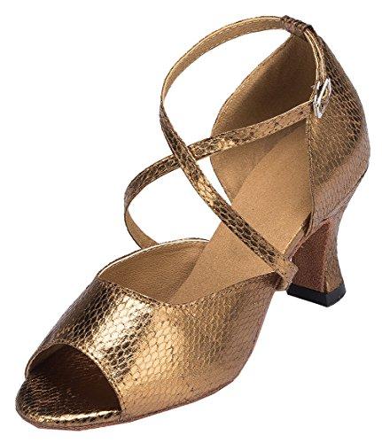 Abby Yfyc-l125 Kvinna Latin Tango Balsal Mid Häl Professionell Satin Dansskor Brun