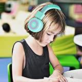 Elecder i37 Kids Headphones for Children, Girls, Boys, Teens, Adults, Foldable Adjustable Over Ear Headsets with 3.5mm Jack for iPad Cellphones Computer MP3/4 Kindle Airplane School(Green/Purple)