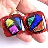Dichroic Glass Knobs - Custom Made Abstract Mosaic - Cabinet or Drawer Pull Handle - 1'' / 30mm - Three Accents Rainbow Red Pink Orange Cobalt Blue Purple Green Fused Glass Shards