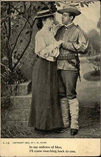 (In My Uniform of Blue, I'll Come Marching Back to You Civil War Original Vintage Postcard)