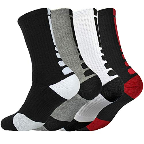 0a1d4f0ddb 4 Pack Men Dri-fit Cushion Basketball Athletic Long Sports Outdoor Socks  Compression Crew Sock Size 6.5-11.5