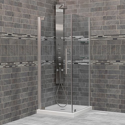 "LessCare 29 3/8-30""W x 72""H x 34-35""D Glass and Stainless Steel Chrome Semi-Frameless Swing-out Shower Enclosure 50%OFF"