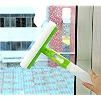 Ivaan Rubber Window Scrubber Squeegee with Spray Bottle Car Glass Mirror Cleaner Wiper (Multicolour)