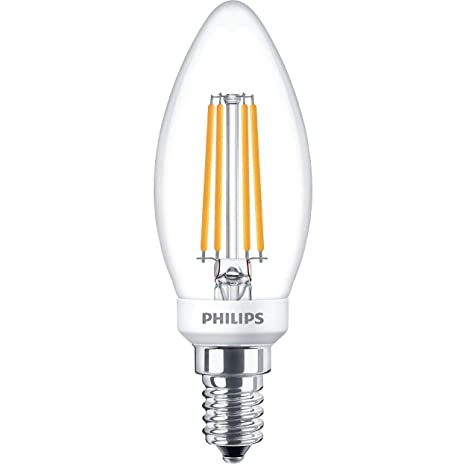 Philips filamento vela bombilla LED 5 W, transparente regulable E14 bombilla lámpara luz