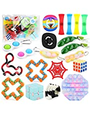 GIKO 20 Pack Premium Sensory Fidget Toys Pack, Creative Multiple Ways to Play Stress Anxiety Relief Kits for Kids Adults, Sensory Fidget Toys Pack for Good Mood and Having Fun Anytime and Anywhere