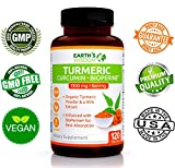 Premium Organic Turmeric Curcumin (1300mg) Enhanced with BioPerine® (10mg) ★ Natural Formula ★ 100% GMO Free ★ Gluten Free ★ Extra Strength Antioxidant Supplement for Joint Support & Inflammation