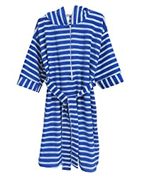 Childrens Hooded Blue Stripe Terry Bath Robe with Zipper