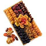 Assortment of Dried Fruit Mosaic Gift, Comes in a Reusable Wooden Rectangle Tray, A Healthy Basket by Benevelo Gifts