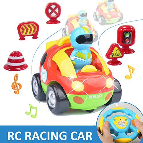 RC Cartoon Race Car AMENON Electric Toy Music and Lights Remote Control & Play Vehicles Mini Roadblock with for Baby Toddlers Kids and Children Birthday Festival Gifts