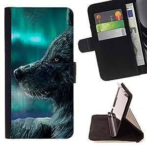 Jordan Colourful Shop - wolf magical winter northern lights sky For Samsung Galaxy S4 IV I9500 - < Leather Case Absorci????n cubierta de la caja de alto impacto > -