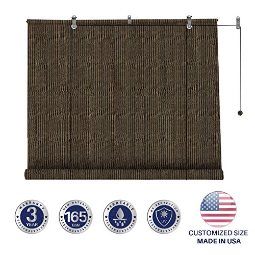 Windscreen4less Exterior Roller Shade Outdoor Porch Roll Up Shade Blinds with 90% Sun Protection Privacy for Deck Back Yard Gazebo Pergola Balcony Patio Porch Carport 6' W x 6' L Brown (Down Sun Patio Shades Roll)