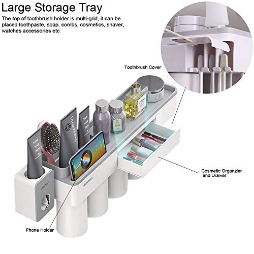 BHeadCat Toothbrush Holder Wall Mounted with Auto Toothpaste Dispenser Squeezer Kit, 8 Brush Slots with Cover 4 Magnetic Cups 1 Cosmetic Organizer Drawer 1 Storage Tray
