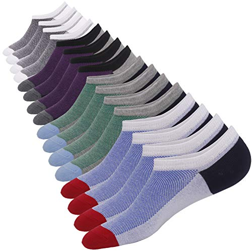 - 8 Pairs No Show Socks Men Low Cut Non-Slip Invisible Casual Loafer Boat Socks (2Purple&2Green&2Red&2White, S/M(US Men Shoes Size 6-11))