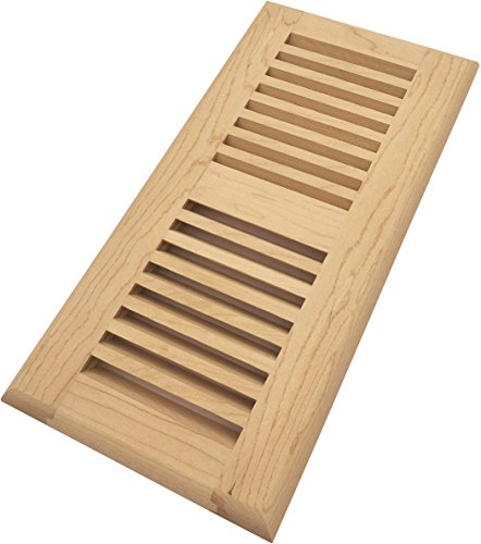 Homewell Maple Wood Floor Register Vent, Drop In Vent, 4x10 Inch, (Maple Louvered Register)