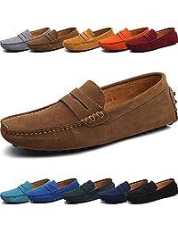 Jacky's Loafers Shoes Mocasines de Piel auténtica de Ante para Hombre – Clásico sin Cordones – Cómodos Zapatos de Vestir para Hombre – Mocasines de conducción Informales para Negocios, Mocasines