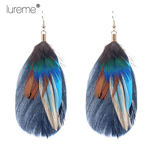 Luremebohemian jewelry multicolor drop shaped peacock for Where can i buy peacock feathers craft store