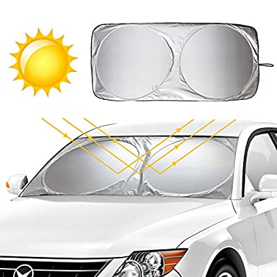 KKTICK Windshield Sun Shade, Foldable Car Front Window Sunshade Blocks Max UV Rays Sun Visor Protector - Keep Your Vehicle Cool, Universal Fit for Most Car SUV Truck (Large 63 x 33 inches): Automotive