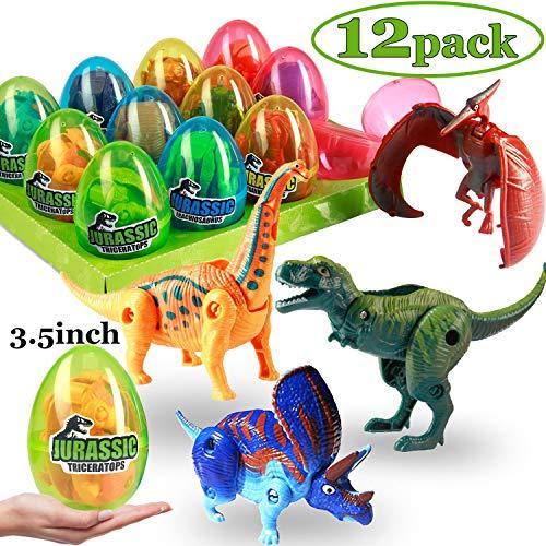 12 Pack Jumbo Dinosaur Easter Eggs with Toys Inside, 3.5