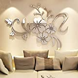 WEI.DS 1Set Acrylic Art 3D Mirror Flower Wall Stickers DIY Home Wall Room Decals Decor Sofa TV Setting Wall Removable Wall Stickers 120CMX90CM (Silver)
