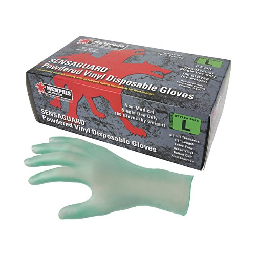 MCR Safety SensaGuard Disposable Vinyl Gloves, Powdered, 6.5 mil, X-Large (1200 Case) by MCR Safety