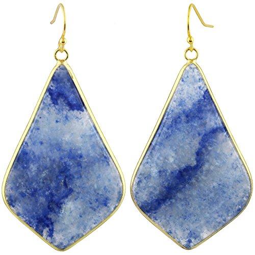 SUNYIK Women's Blue Aventurine Large Rhombus Dangle Earrings ()