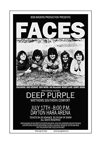 (Raw Sugar Art Studio Faces/Rod Stewart/Deep Purple 1971 Dayton Concert Poster)