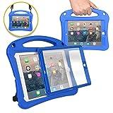 Bam Bino Rhino [Rugged Kids Case] Child Proof Case for iPad 9.7: iPad 6, iPad 5, iPad Pro 9.7, iPad Air 2/1   Screen Guard, Shoulder Strap (Blue)