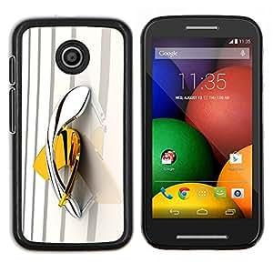 Boomerang Amarillo Oro Platino Bling- Metal de aluminio y de plástico duro Caja del teléfono - Negro - Motorola Moto E / XT1021 / XT1022