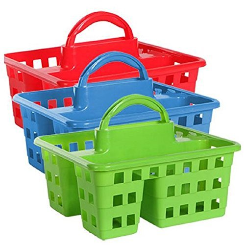 (Divided 3-Compartment Plastic Tote Caddies Baskets, Red, Blue and Lime Green. 3-ct Set)