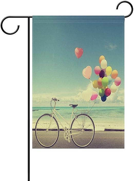 Beigehome Bicicleta Vintage Decorativa con Globo de Playa y Bandera de jardín de Doble Cara, Bandera para el Patio ...