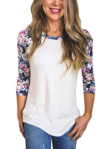 FARYSAYS Women's Casual 3 4 Sleeve Floral Print Crew Neck Blouses Tops and Shirts (S-XXL)