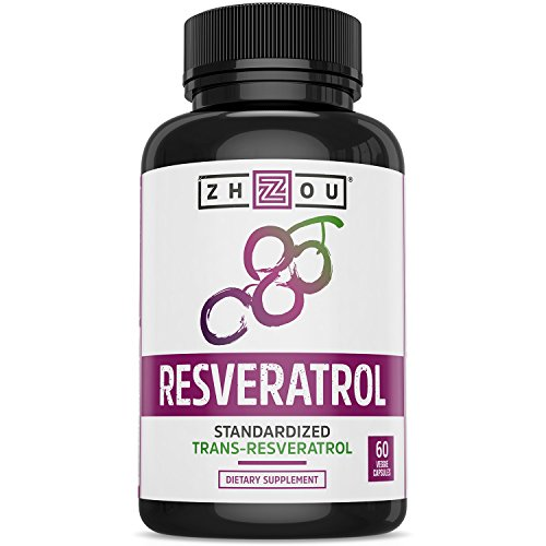 Resveratrol Supplement for Healthy Aging, Immune System & Heart Health Support - Standardized to 50% Trans Resveratrol - Powerful Antioxidant Benefits - 60 Vegetarian Capsules (Vitamins Growth Hair Fast)
