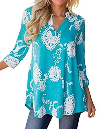 WLLW Women's Bohemian 3/4 Sleeve V Neck Floral Print Shirt Blouse Tops Tee Tunic Small Blue