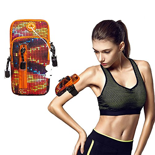 PHNAM Cell Phone Armband Sports Gym Running Adjustable Reflective Arm Bag with Earphone Hole for iPhone 5 6 6s 7 7s 8 X Samsung Galaxy S5 S6 S7 S8