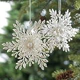 RAZ Imports - White Snowflake with Pearl Ornaments