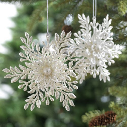 Christmas Tablescape Decor - Shiny silver and pearl white lacy snowflake Christmas ornaments embellished with glitter and faux pearls - Set of 2