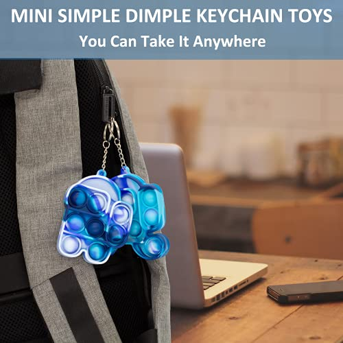 2PCS Mini Simple Dimple Fidget Toys Keychain, Small Among-Us Push Pop Its Bubble Sensory-Toys, Stress Reliever Squeeze Tiny Pop Fidget Toys Keychain Gadgets Gift for Girls Boys (Stand Blue+Run Blue)