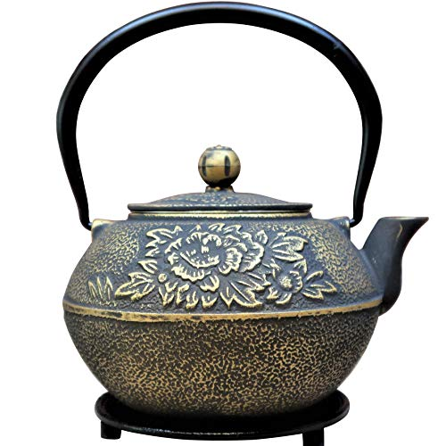 (SunsetCo - Cast Iron Teapot with Trivet Set - Traditional Japanese Tetsubin Style - Stainless Steel Infuser - Large 40oz/1.2ltr - Gold Decorative Flower Design - Steep Your Favourite Loose-Leaf Tea)