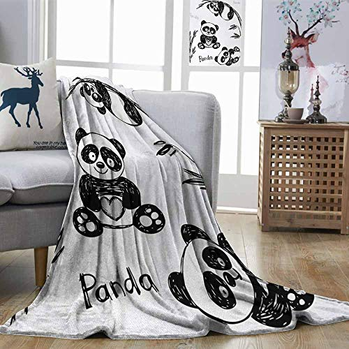 Zmstroy Hypoallergenic Blanket Panda Cheerful Panda Different Poses with Bamboo Branch Children Painting Art Print Black White Super Soft W40 xL60