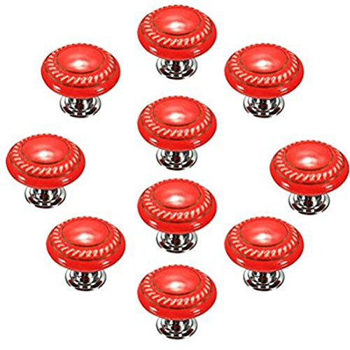 Ningmi Set of 10 Retro Style Round Flat Ceramic Knobs Handle for Cupboard Cabinet Wardrobe Drawer (Orange) (Orange Cabinet Handles compare prices)