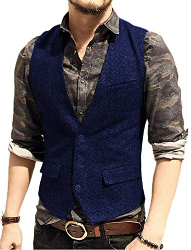Suit Pragmaticv Blue Pour V Fit Mariage Gilet Slim Tweed Smoking Le Col Royal Hommes Les Xx64nX