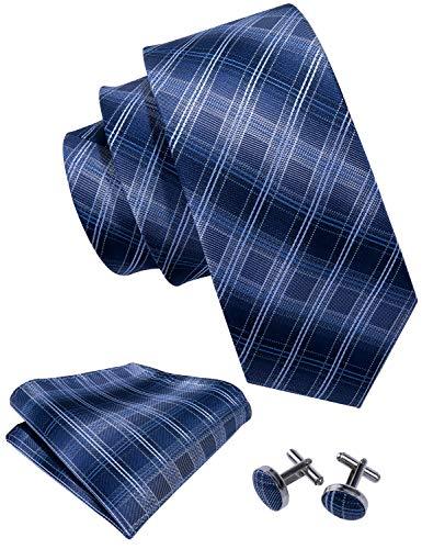 Blue Tie Set Plaid Tie Pocket Square Cufflinks Neckties for Men Business