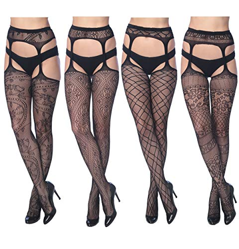 Frenchic Seamless Fishnet Lace Stocking Sexy Tights Extended Sizes (Pack of 4) (1X/2X, 4-F Suspenders)