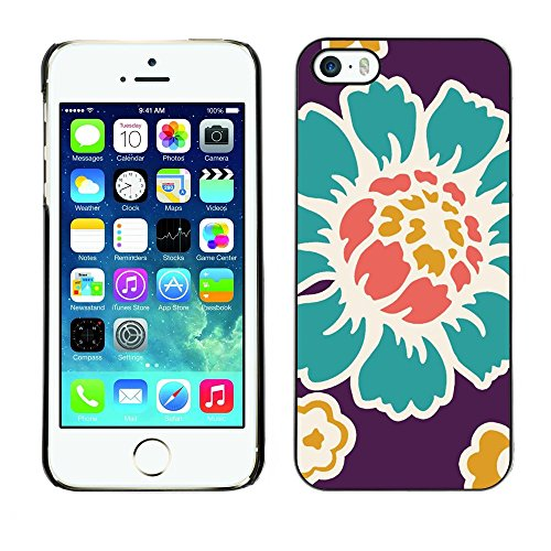 Soft Silicone Rubber Case Hard Cover Protective Accessory Compatible with Apple iPhone? 5 & 5S - old flower wallpaper teal purple